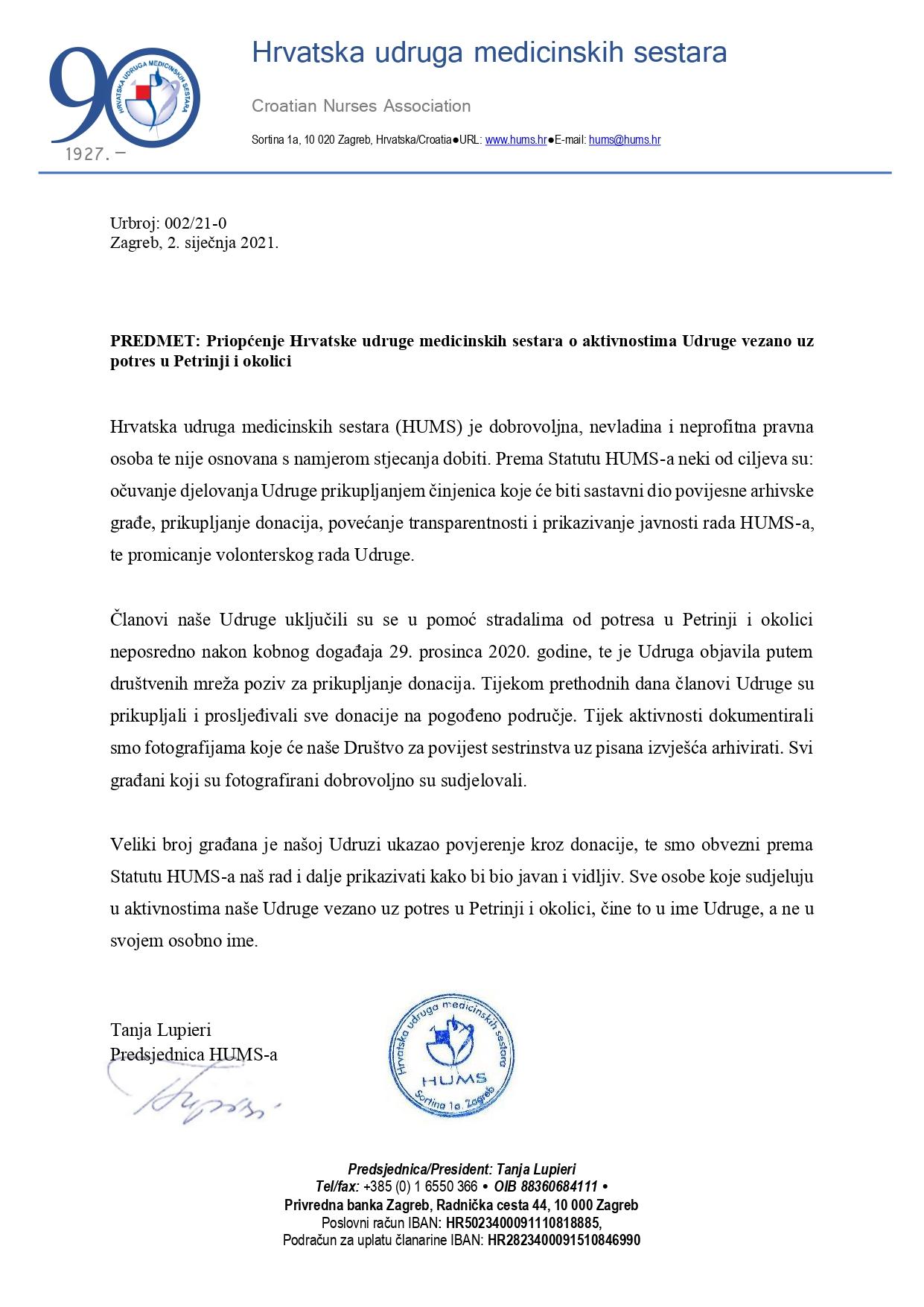 Obavijesti Hrvatska Udruga Medicinskih Sestara